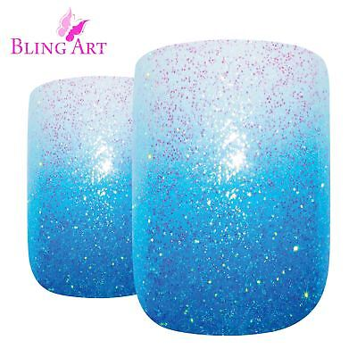 False Nails  Blue Gel Ombre French Squoval 24 Medium Bling Art Tips 2g Glue