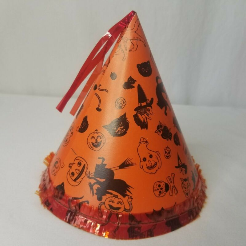 Vintage Halloween Party Hat Cone Orange Black Cardboard Witch Black Cats 50s 60s