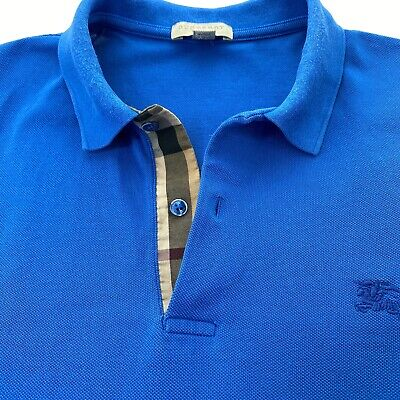 Burberry Brit Mens Medium Blue Polo Shirt Nova Check Plaid Pique SS Casual