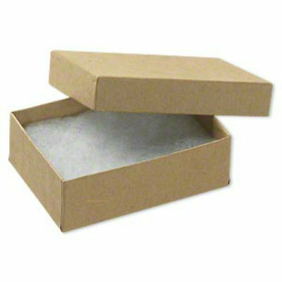 100 Jewelry Boxes Gift Lidded Kraft Cotton Filled Tan 3 X 2 X 1 Pins Brooches