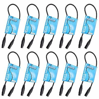 10 pack 2 ft foot feet 3 pin Male to Female XLR shielded DMX 512 data cable cord