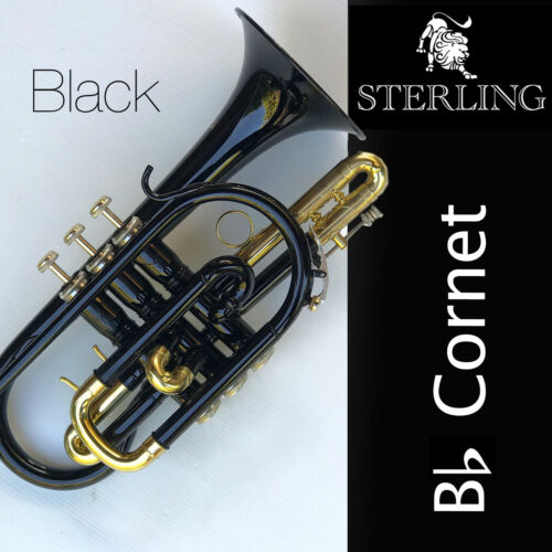 BLACK  Sterling Bb CORNET • With Carry Case • BRAND NEW • Quality • Free Express