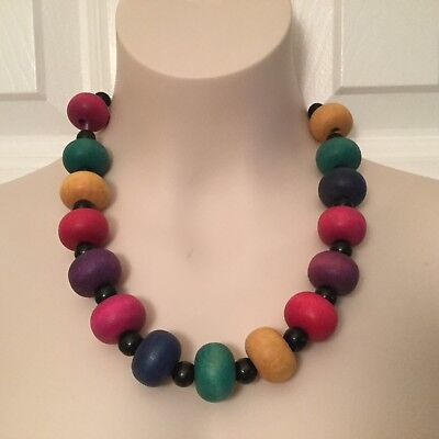 "(Vintage  1970s Wood Bead Necklace 20"" Chunky Retro )"