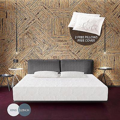 "12"" inch King Size Memory Foam Bed Mattress Cool & Gel Medium Firm w/Free Pillow"