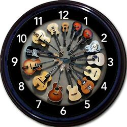 Guitar Wall Clock Acoustic Electric Guitars Instrument Music Musician New 10