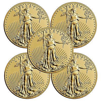 2014 1 OZ ($50) Gold American Eagles UNC LOT OF 5