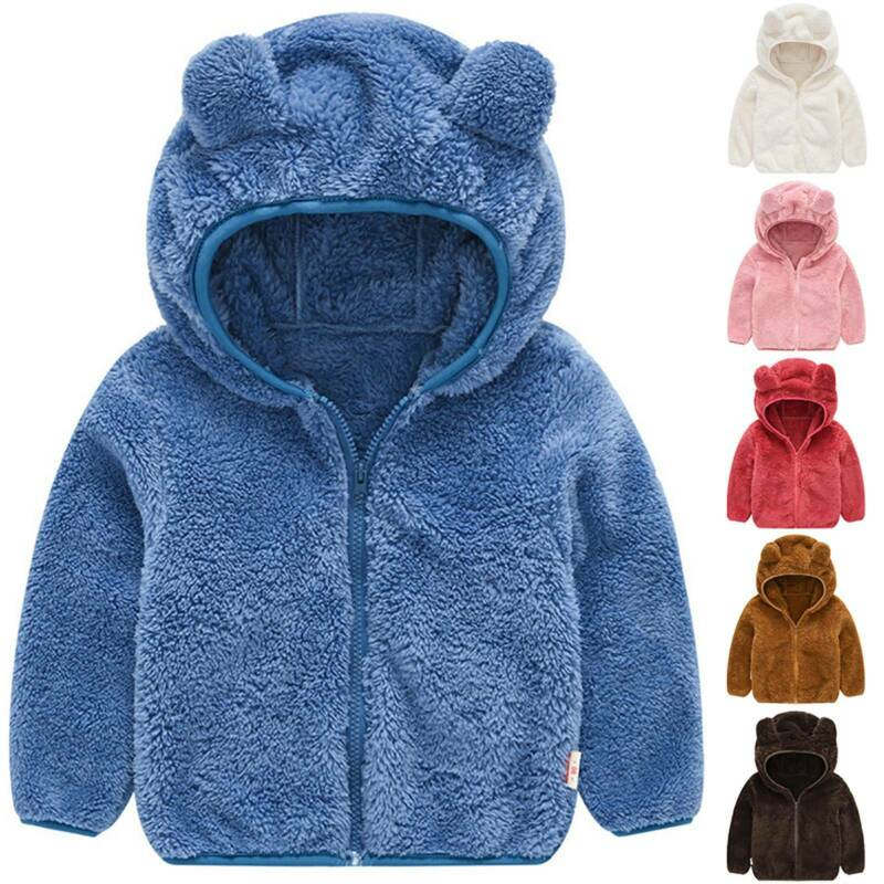 Toddler Baby Girls Hooded Coats Jacket Plush Fur Fleece Outw