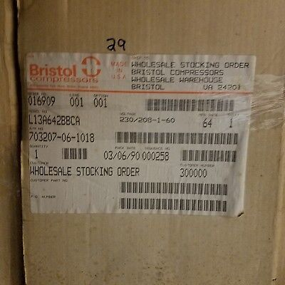 Bristol Compressor L13a642bbca 230-208-1-60 6400 Btu Compressor