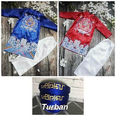 NEW Vietnamese Traditional Dress for kids Boys AO DAI TRE EM TET VIETNAM RONG