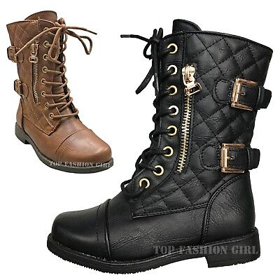 New Baby Argyle Quilted Combat Boots Lace Up Shoe Black Gold Toddler Size 4-9](Toddler Girls Combat Boots)