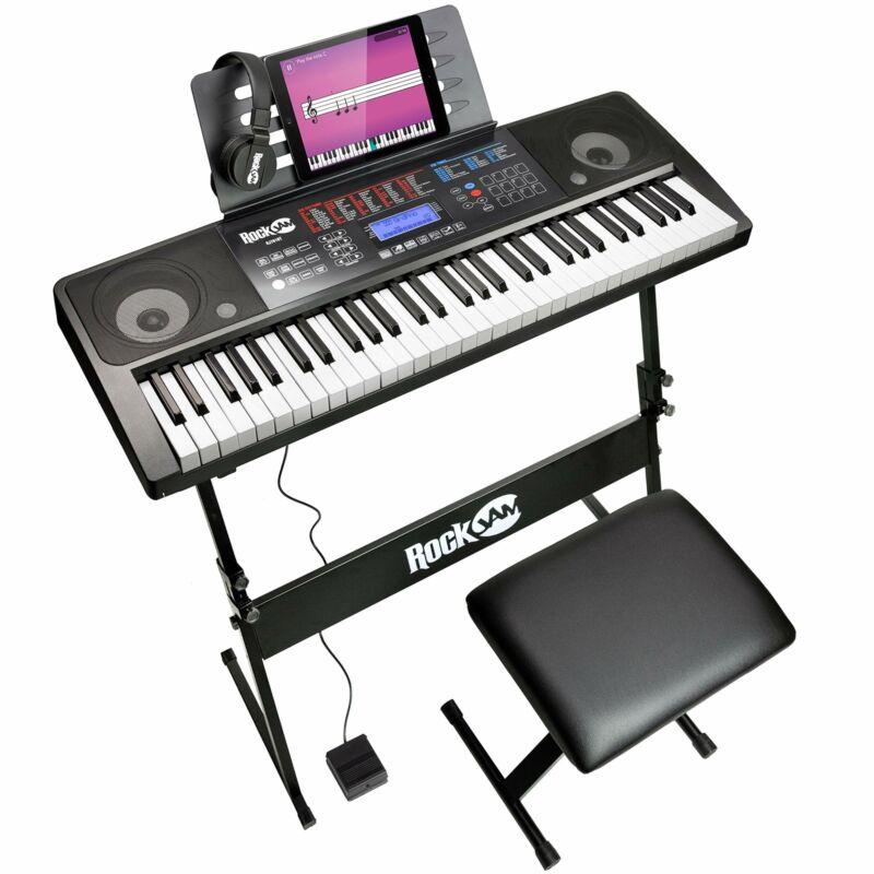 RockJam RJ761-SK  61 Keyboard Piano Kit 61 Key Digital Piano Keyboard Bench