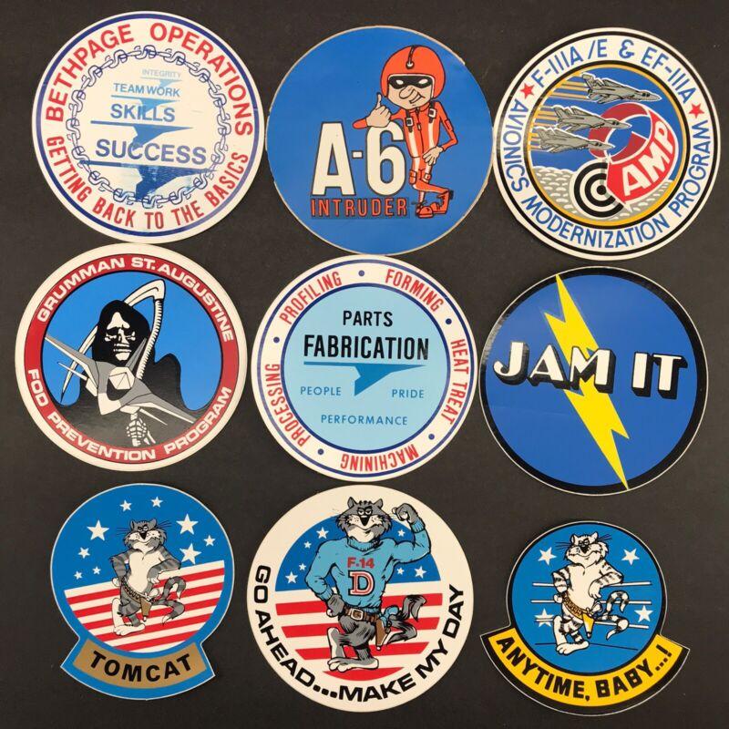 Lot of 9 Vintage Grumman Aviation Sticker Assortment (#04)