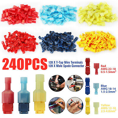 240pc T-taps Wire Terminal Connectors Insulated 22-10 Awg Quick Splice Combo Kit