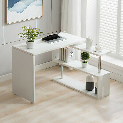 White Corner Computer Desk Rotating L Shape Gaming Study Pc Table Home Furniture