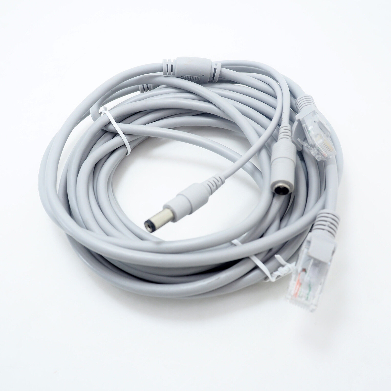 Gray 50ft Cat5E Network Ethernet LAN Video Power Cable for CCTV IP Camera 15M
