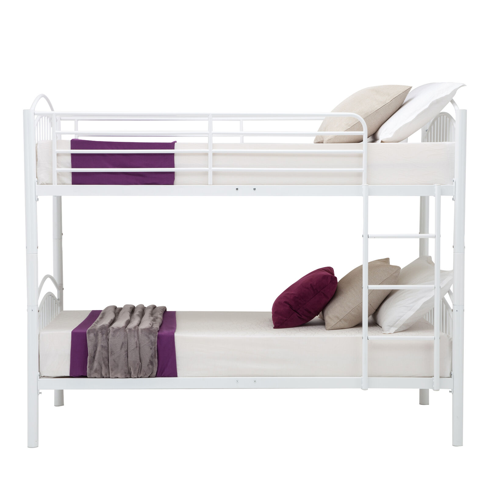 Modern 3ft single white metal bunk bed frame 2 person for for Modern bunk beds for kids