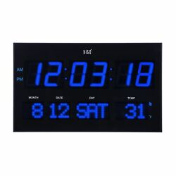 hito Extra Large Oversized LED Wall Clock w/ Date, Week, Indoor Temperature,