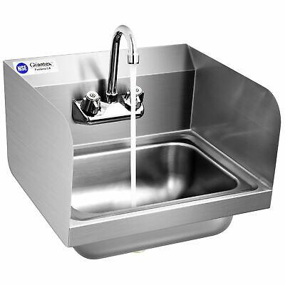 Topbuy Stainless Steel Sink Nsf Wall Mount Hand Washing Sink Side Splash