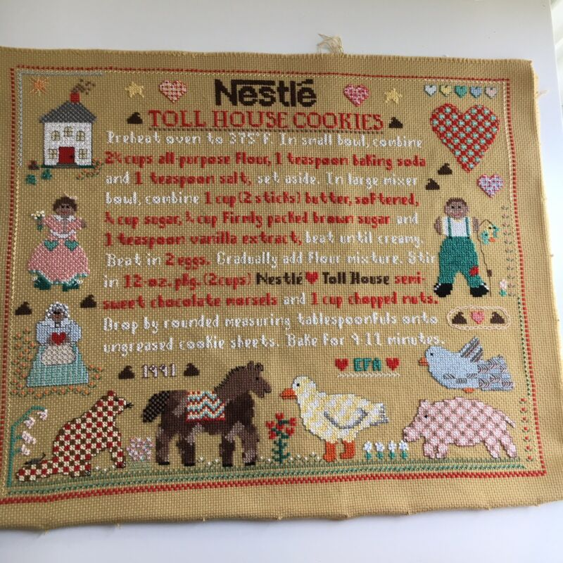 "VTG 1991 Handmade Cross Stitch of Nestle Toll House Cookie Recipe 14""x17"" RARE"