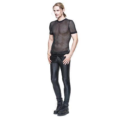 Adult Men's Punk Stripe Steampunk Gothic Metal Halloween Costume Wet Look Pants