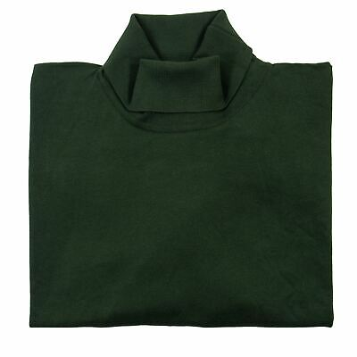 NWT John Smedley Pine Needle Green Cotton Knit Piped Turtleneck Sweater L