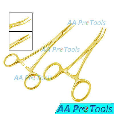 5 Inch Straight Curved Mosquito Hemostat Forceps Clamp Locking Full Gold X2