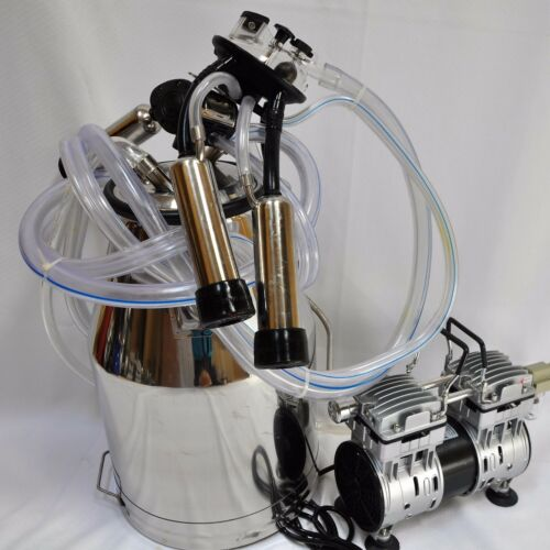 Portable Cow Bucket Milker:Oil-less Vacuum Pump+Tank+Pulsator+Claw+Shells+Liners