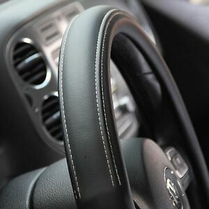 black pvc leather steering wheel cover corolla camry tacoma 14 15 38cm non slip ebay. Black Bedroom Furniture Sets. Home Design Ideas
