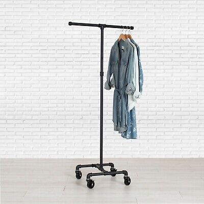 Industrial Pipe Rolling Clothing Rack 2-way By William Roberts Vintage