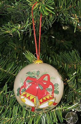 Li Bien Christmas Holly & Bells Glass Ornament Reverse Hand Painted Inside +Box