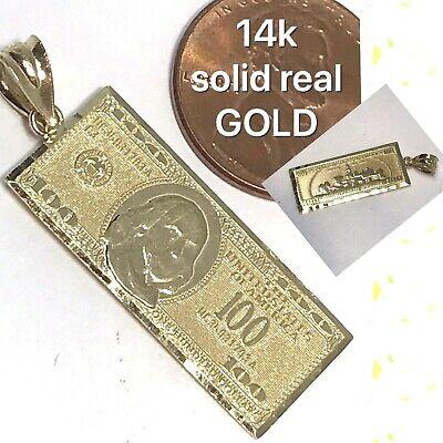Real Hundred Dollar Bill (GOLD 14k $ $100 Hundred Dollar Bill Money Pendant solid Luck charm Real)