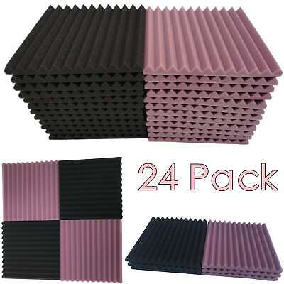 "24 Pack Acoustic Foam Panel 1"" X 12"" X 12"" Wedge Studio Soundproofing Wall Tiles"