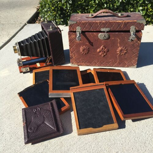 Antique Folding Seneca Frisco Camera & Accessories