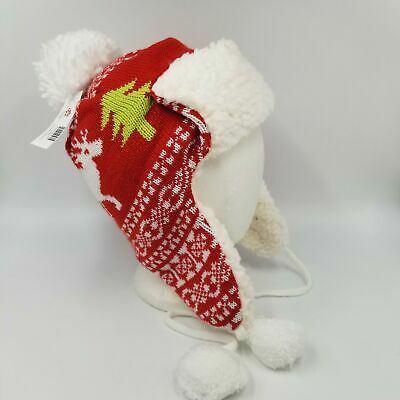 Dog Aviator Hat (Twos Company Holiday Red Reindeer Tree Aviator Pom Dog Ear Flap Ski Hat)