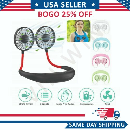 Neckband Fan Portable USB Rechargeable Dual Cooling Mini Lazy Neck Hanging Style