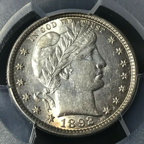 1892 BARBER QUARTER PCGS AU58 STUNNING COIN