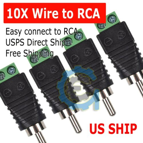 Speaker Wire Cable to Audio Male RCA Connector Adapter Jack Plug Lot