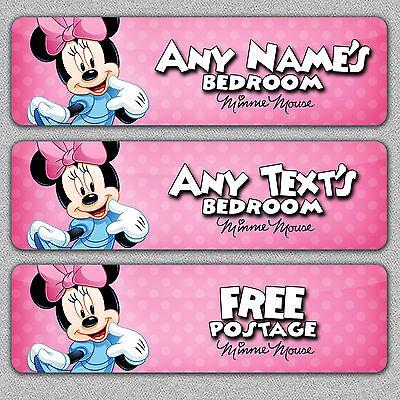 Personalised Minnie Mouse Metal Bedroom Door Sign/Plaque Disney/Girls/Baby/Child