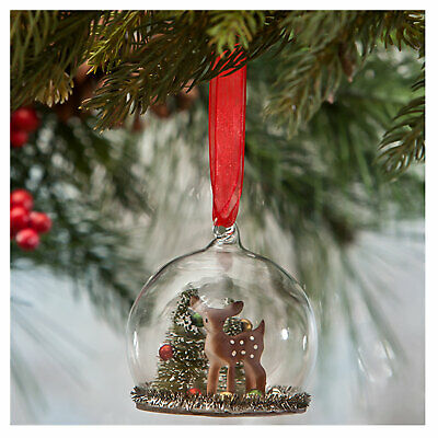 Bethany Lowe Deer Mini Glass Globe Christmas Ornament Retro Vntg Style Decor