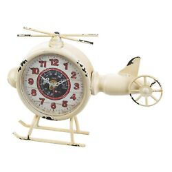 WHITE HELICOPTER DESK CLOCK - 9 1/2 x 7 HIGH - IRON & PLASTIC - WHITE