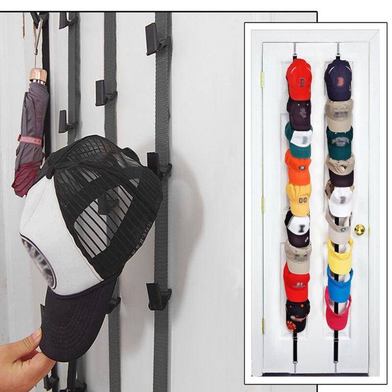 Cap Rack 16 Baseball Hats Visors Wall Door Hanger Holder Hook Storage Organizer