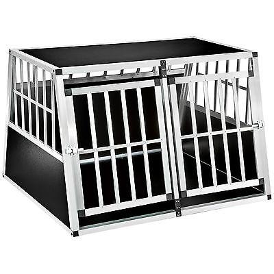 XXL Cage box caisse de transport voyage pour chien mobile aluminium trapézoïdal