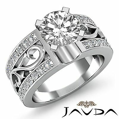 1.55ct Round Diamond Fashion Engagement Filigree Ring GIA F VVS2 14k White Gold