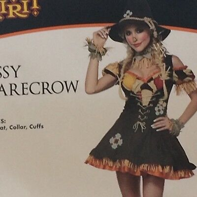 Sassy Scarecrow Women's Halloween Costume Small 6-8 Dress Hat Spirit