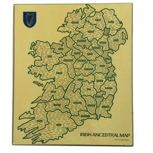 Vintage 1977 Ancestral Map of Irish Names 17x14 in By Aer Lingus Irish Airlines