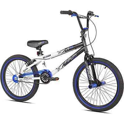 Boys' 20-Inch Blue, Black and White Bike; Single Speed; Easy Assembly; Ages 8-12