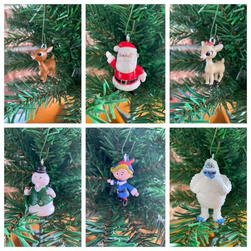 Rudolph The Red Nosed Reindeer Christmas Ornaments!! Set Of 12!!