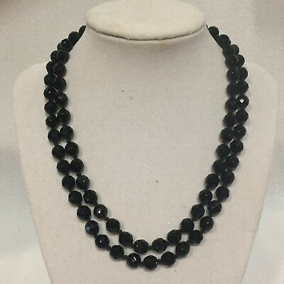 Drops Vintage Glass Bead Strand - VTG 2-Strand NECKLACE Black Faceted CRYSTAL Glass Beads 9 in Drop