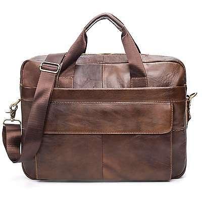 Men Retro Genuine Leather Handbag Messenger Shoulder Laptop Tote Bags Briefcase