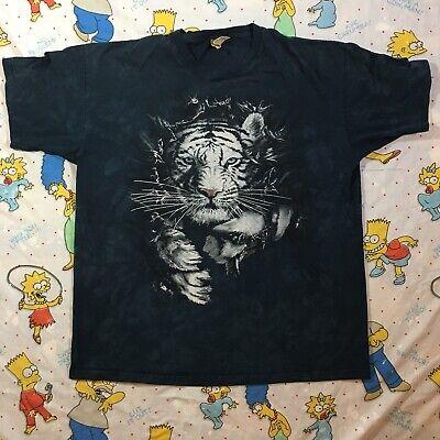The Mountain Brand WHITE TIGER Tear Through XL Tie Dye T-shirt RARE 90s/00s EUC